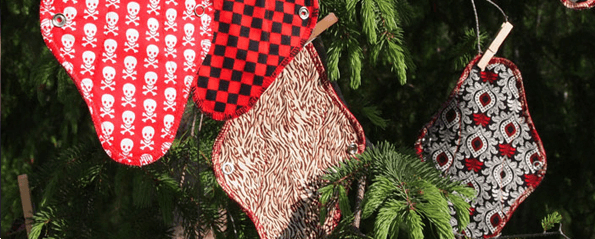 Focy Cloth pads on a holiday tree